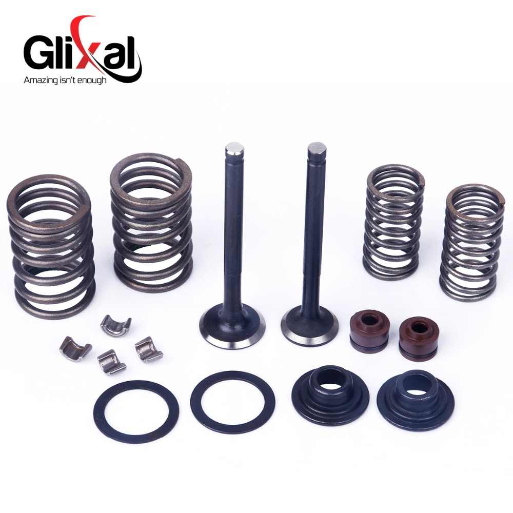 Glixal GY6 50cc 60cc 80cc 100cc 139QMB 139QMA Cylindr Head Valves 64mm INTAKE & EXHAUST Valves Set with Valve Spring assembly