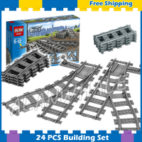 City Trains Flexible Tracks And Switch Track Sets Model Building Blocks Curved Rails Kit Gifts Toys