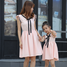 Ruffle Sleeveless Mother Daughter Dresses Family Matching Outfits Mommy and Me Clothes Mom Mum Mama Look Dress ML