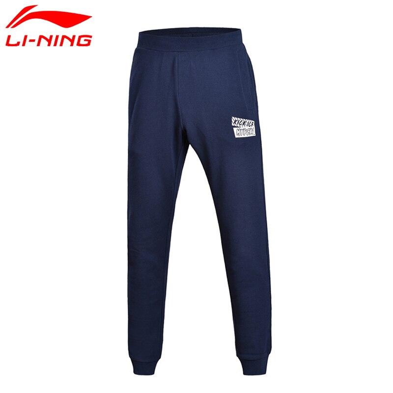 Li-Ning 2018new Men The Trendy Sweat Pants Regular Fit 90% Cotton 10% Polyester LiNing Warm Sports Pants AKLM595 CONF17