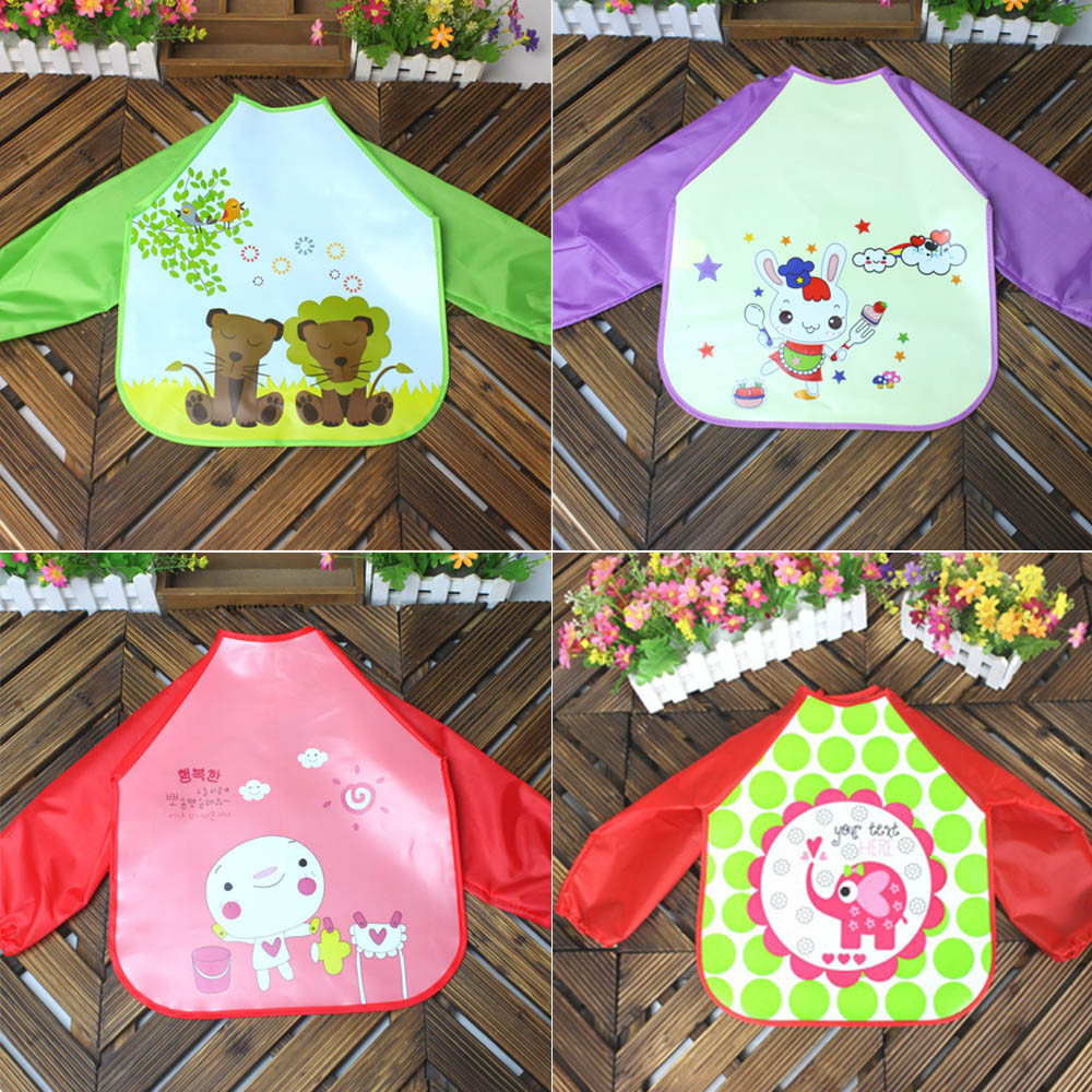 CHAMSGEND Cute four style Baby Kids Boys Girls Character Unisex Long Sleeve Waterproof Feeding Art Apron Bib Smock P30 MAY27