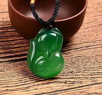 Pur Naturel Vert De Glace Calcédoine Agate Renard Pendentif Collier Chandail Chaîne Bijoux Cadeau En Gros