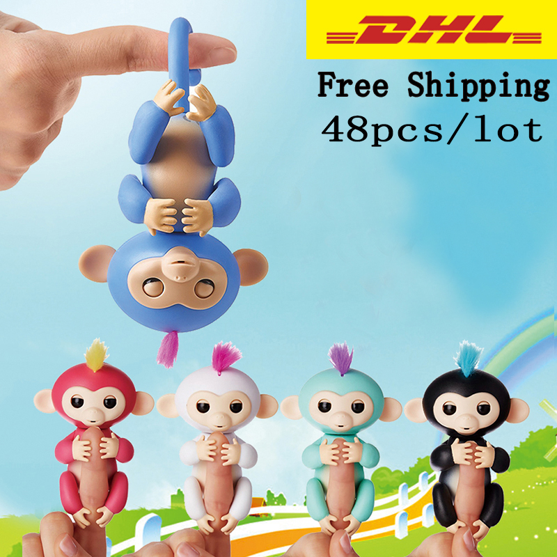 48pcs/lot Elderly Interactive Baby Monkey Smart Color FingerLlings Smart Induction Toy Child Best Gift funny fishing game family child interactive fun desktop toy