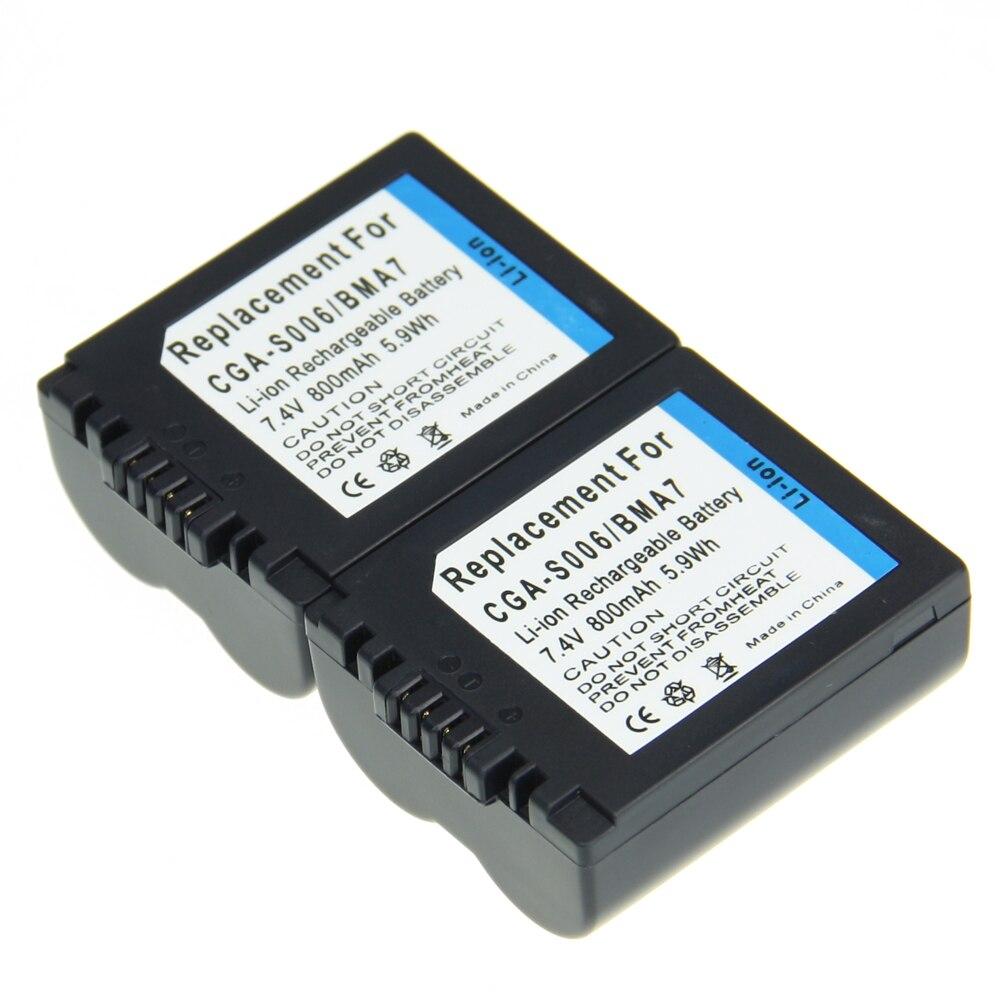 Preço de atacado 2 Pcs CGA-S006E CGR S006E CGR-S006A/1B BP-DC5U 800 mAh 7.2 V Da Bateria Da Câmera Para PANASONIC Câmera Bateria
