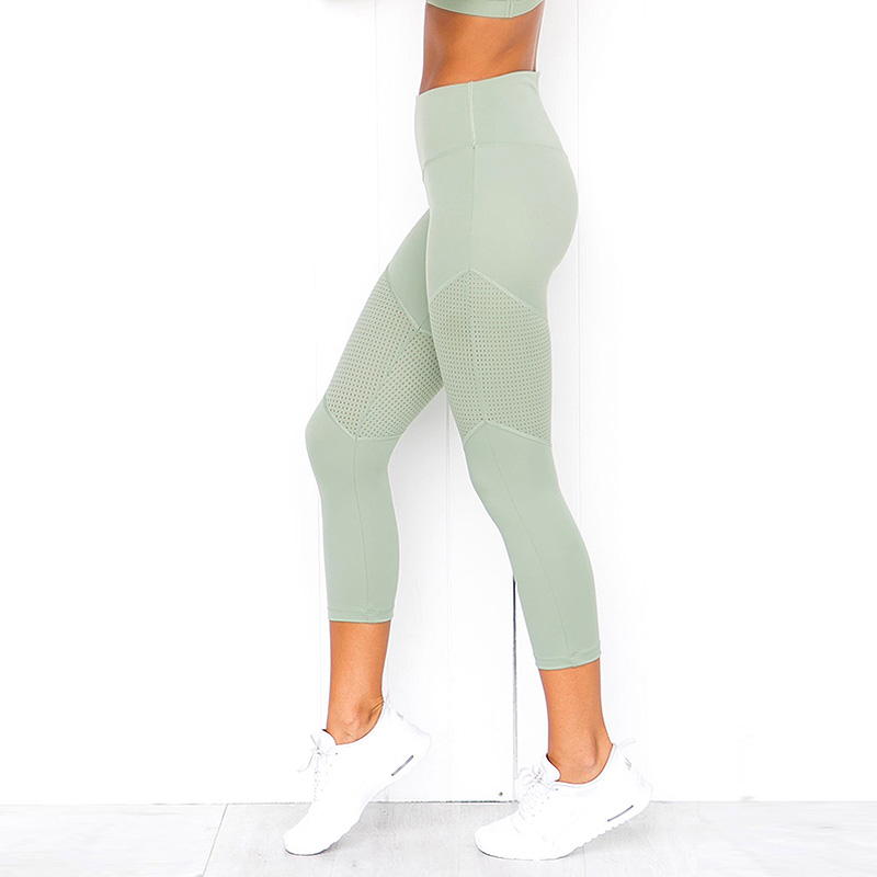 2019 New Fashion Mint Hue Cropped   Leggings   Women High Waist   Leggings   for Fitness Workout Active Pants Slim Green Trousers Casual