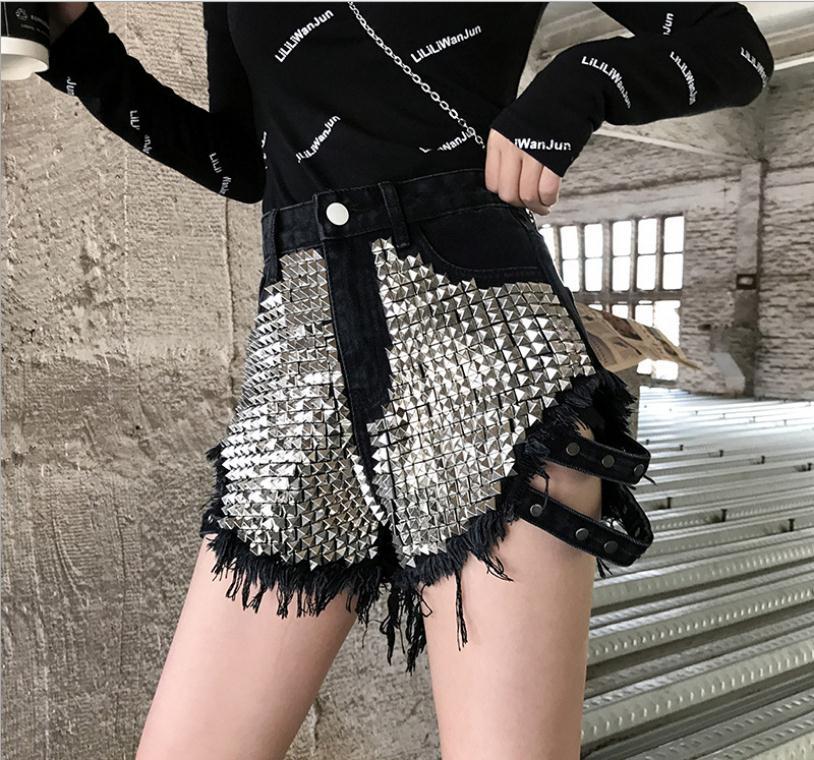 High Waist Women Rivet Denim Shorts Summer Spring Autumn Booty Shorts Loose Tassel Female FashionSexy Denim Short S/Xl J2311