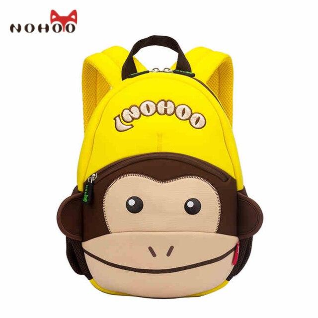 NOHOO NH021 Monkey Kids Baby Bags For Girls Boys Neoprene 3D Animals Bags  For Children Kindergarten School Backpack