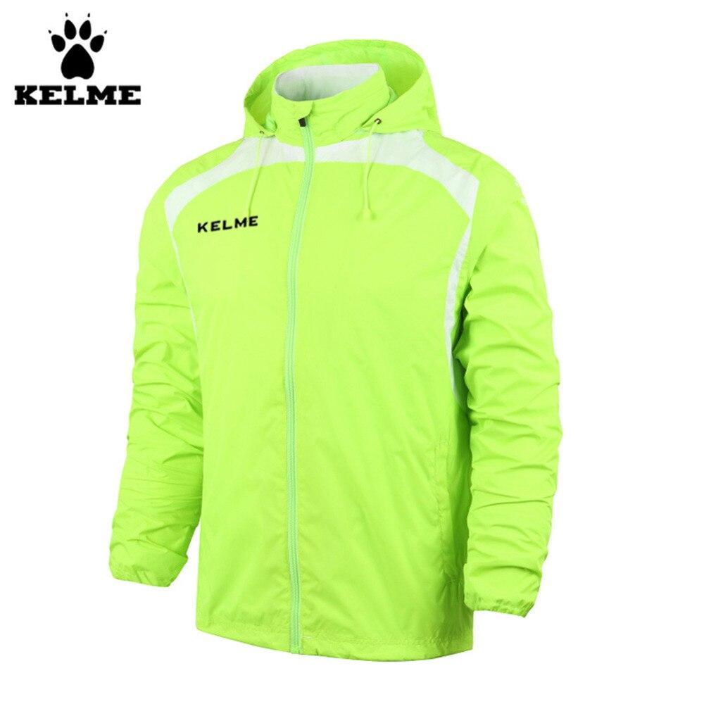 Kelme K15S605 Fall/Winter Men Hooded Sports Woven Wind Raincoats Jacket Fluorescent Green universal cute funny jacket style cellphone bag blue fluorescent green