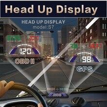 BigBigRoad 5.8 inch Car HUD Head Up Display OBD 2 +GPS 2 in 1 Dynamic Speed Windscreen Projector Engine Fault Alarm