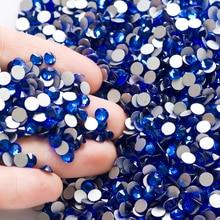 Free Shipping SS20 4.6-4.8mm New Crystal Nails Sapphire 1440pcs Glass Nail arts flat backs rhinestones