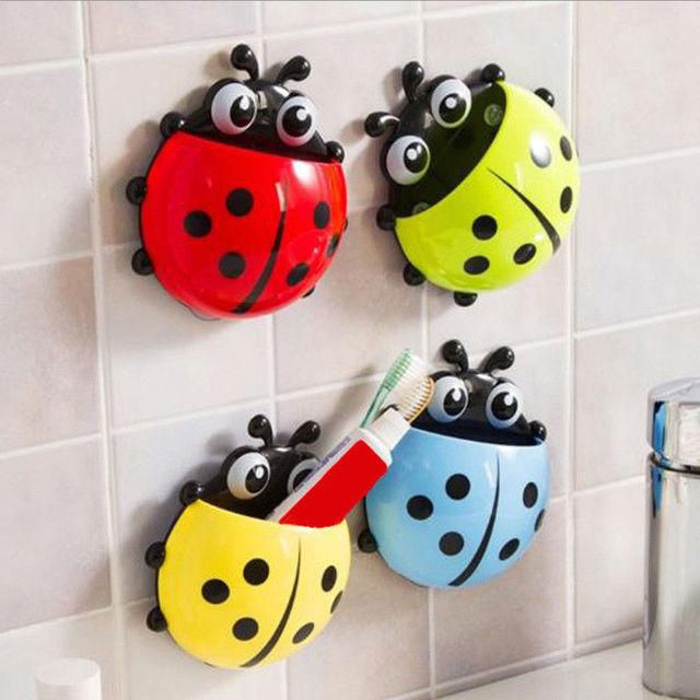 Sevimli Uğur Böceği Böcek Diş Fırçası Duvar Emme Banyo Setleri Karikatür Enayi Diş Fırçası Tutucu/Emme Kanca