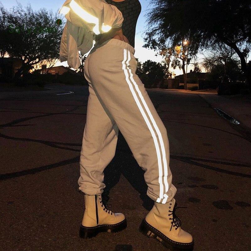 Patchwork Side Striped Khaki Pants Womens Casual Loose Joggers Trousers High Waist Sweatpants Streetwear Harem Pants Capris