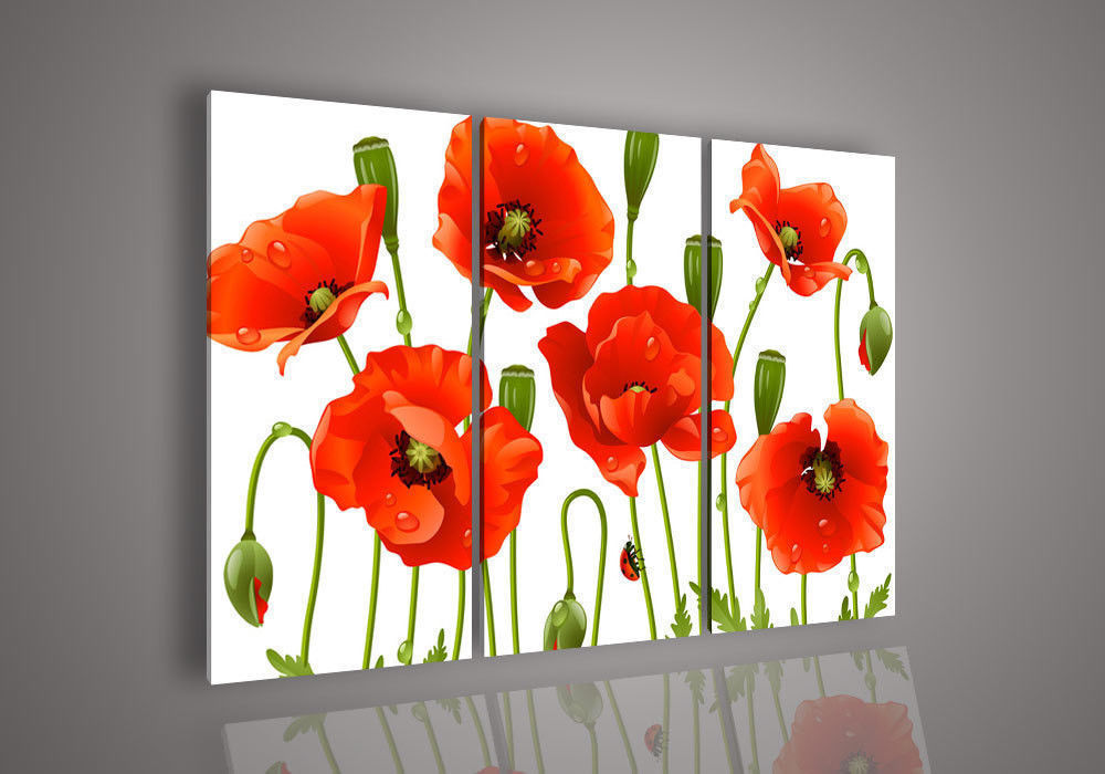 Wall Art Modern Abstract Acrylic Flower Red Poppy Oil ...