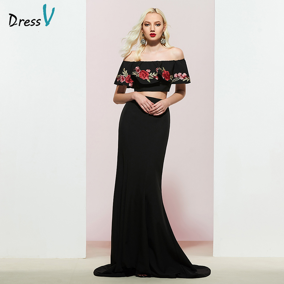Dressv Party-Gown Mermaid Evening Elegant Black Off-The-Shoulder Sleeveless Embroidery
