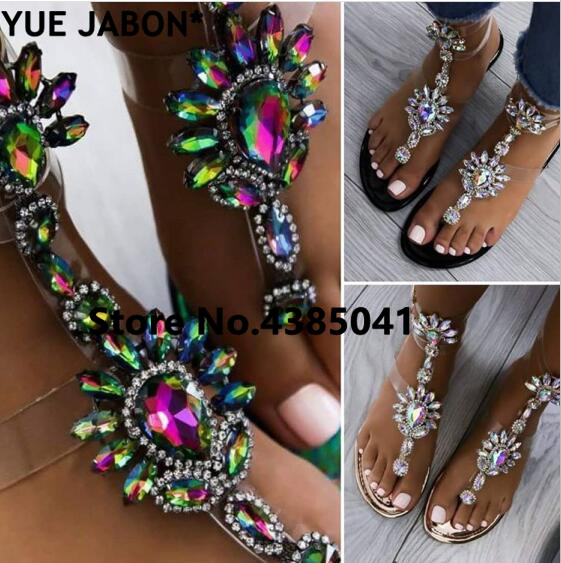 HTB1j2H1rOCYBuNkHFCcq6AHtVXa9 2019 shoes woman sandals women Rhinestones Chains Flat Sandals Thong Crystal Flip Flops sandals gladiator sandals 43 free ship