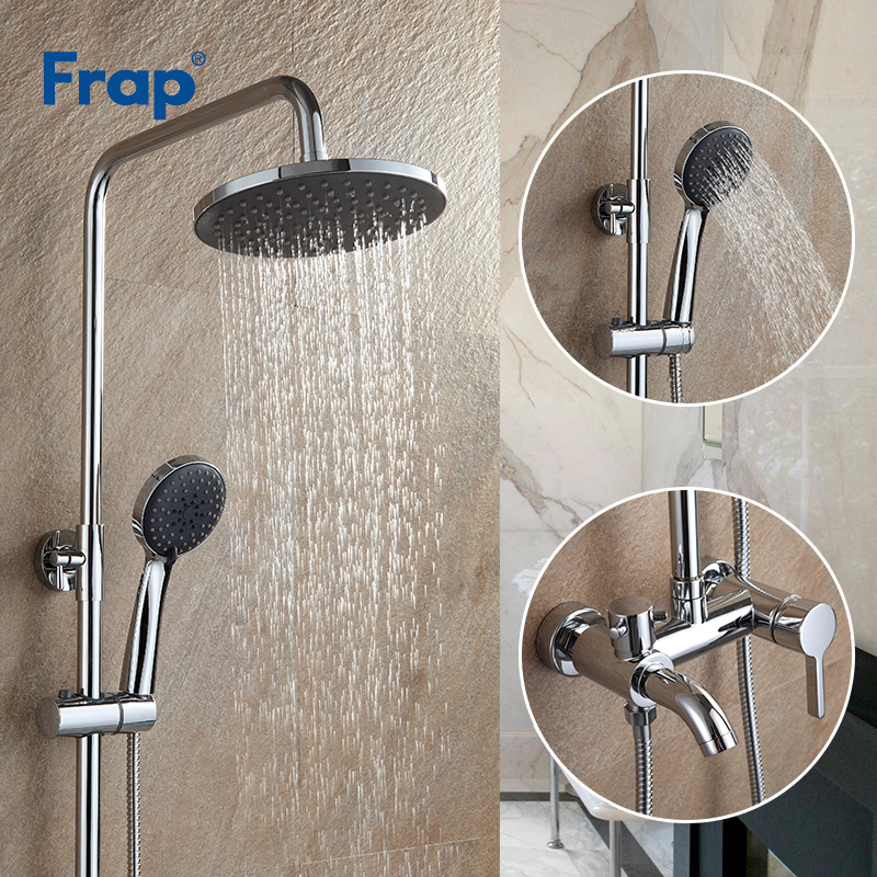 Frap Bathroom Chrome Faucet Rainfall Shower Faucet Set Mixer Tap With Hand Sprayer Wall Mounted banheiro