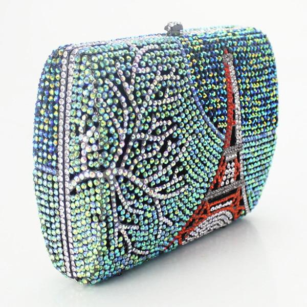 2017 Main Boîte Cristal Pierre Couleur Sac De Paysage Motif Soirée Vert Mode Forme Nouvelle Fait rTvaBr