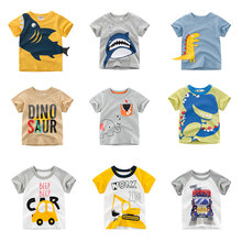 New Cartoon Animal Print Baby Boys T Shirt For Summer Infant Kids Boys Girls Car T-Shirts Clothes Cotton Toddler Letter Tops недорого