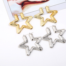 Bohopan High Quality Large Star Hoop Earring Women Statement Dangle Jewelry Accessories Fashion Gold Silver Color Earrings 2019