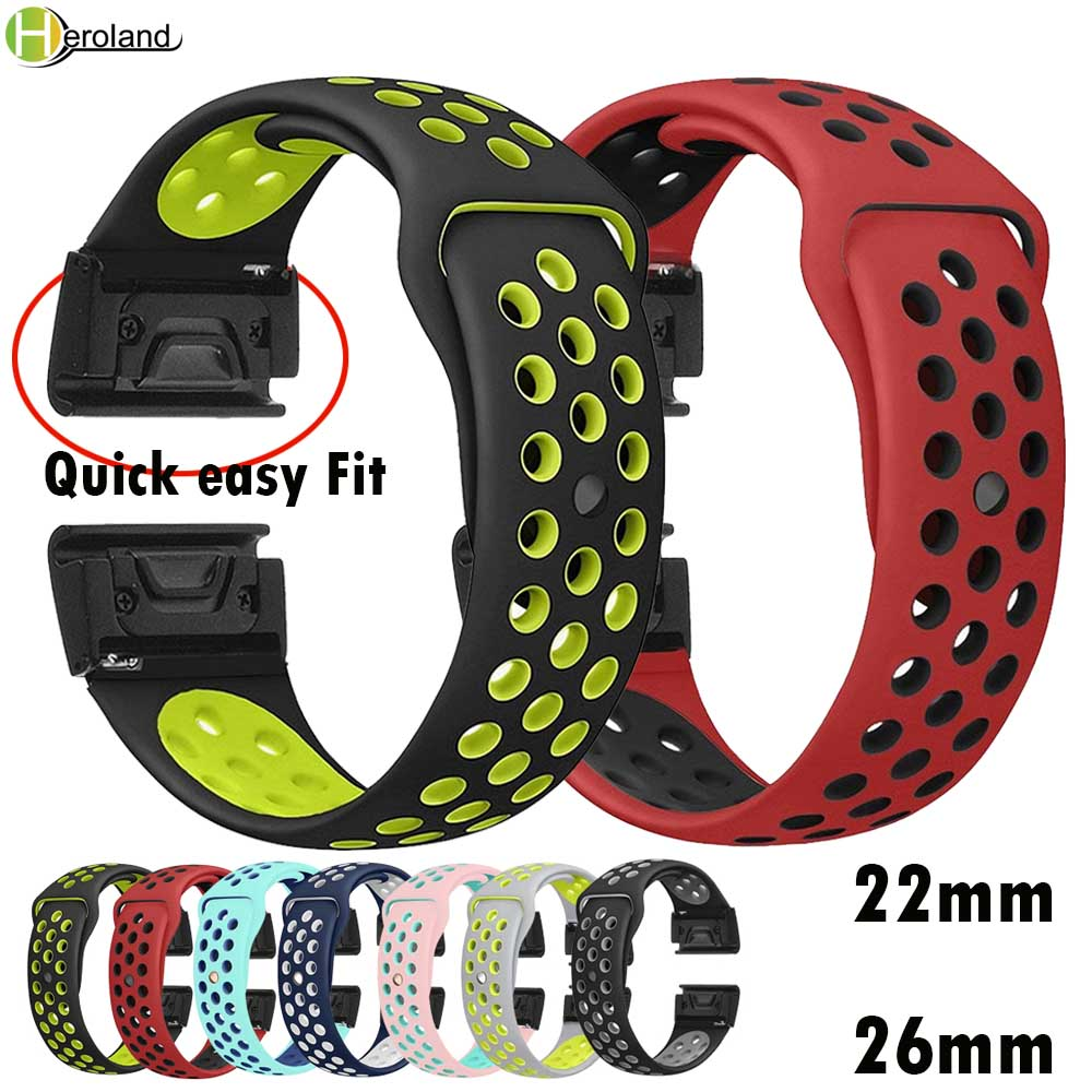 22 26mm Silicone Watch Band Easy Quick Fit Strap For Garmin Fenix 3 3HR/Fenix 5X/Fenix 5X Plus/S60/D2/MK1/Fenix 5/5 Plus Wrist