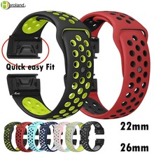 22 26mm Silicone Watch Band Easy Quick Fit Strap for Garmin Fenix 3 3HR/Fenix 5X/Fenix 5X Plus/S60/D2/MK1/Fenix 5/5 Plus wrist цена