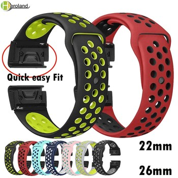 22 26mm Silicone Watch Band Easy Quick Fit Strap for Garmin Fenix 3 3HR/Fenix 5X/Fenix 5X Plus/S60/D2/MK1/Fenix 5/5 Plus wrist quick easy fit genuine leather watchband 26mm for garmin fenix 5x 3 3hr watch band stainless steel clasp strap wrist bracelet