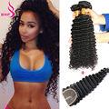 Virgin Peruvian Hair Bundles With Closure Virgin Deep Wave Bundles With Closure Human Hair Extensions With Closure