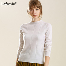 Lafarvie Slim Turtleneck Knitted Sweater Women Autumn Winter Long Sleeve Split Fashion Pullover Thick Warm Soft Knitting Jumper