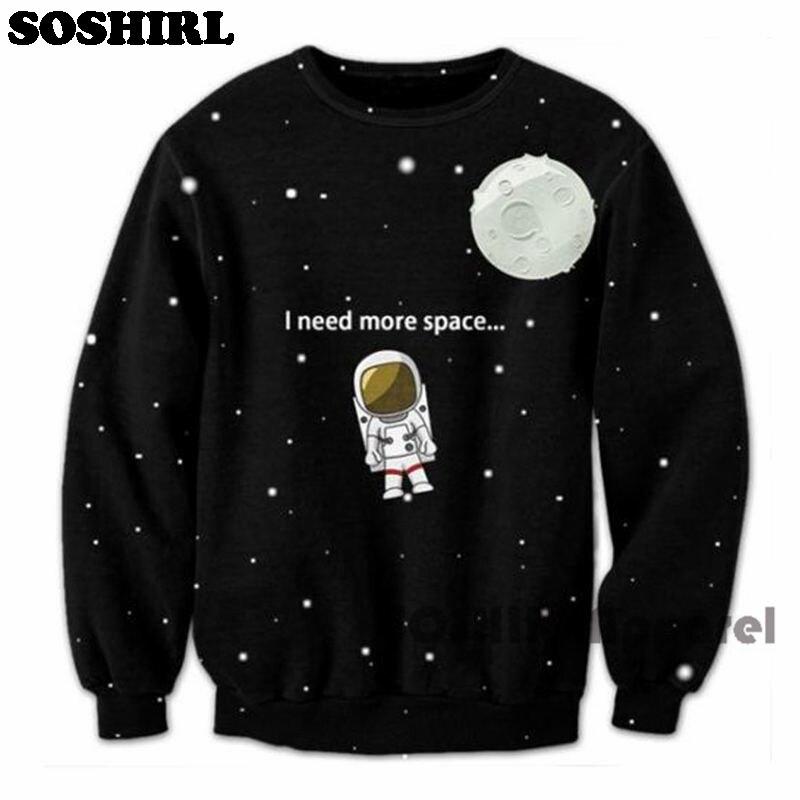US $16 14 15% OFF|I Need More Space Sweatshirt Men's Punk Galaxy Hoodies  Moon Cute Astronaut Outwear Streetwear Long Sleeve Plus Size Tops-in  Hoodies