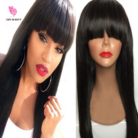 Hot Selling Peruvian Hair Full Fringe Wig Human Hair Glueless Full Lace Wig With Bangs Bleached Knots Wig For Black Women
