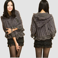 natural women's real knitted rabbit fur wrap shawl poncho with hood black grey color spring autumn fashion pashmina cape vest