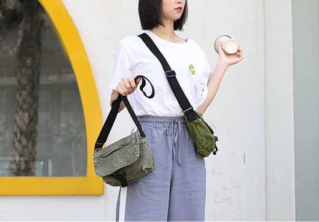 Leisure Canvas Small Crossbody Bag 2019 Fabric Casual Messenger for Teenager Cute Small Shoulder Bag Student Style School Purse