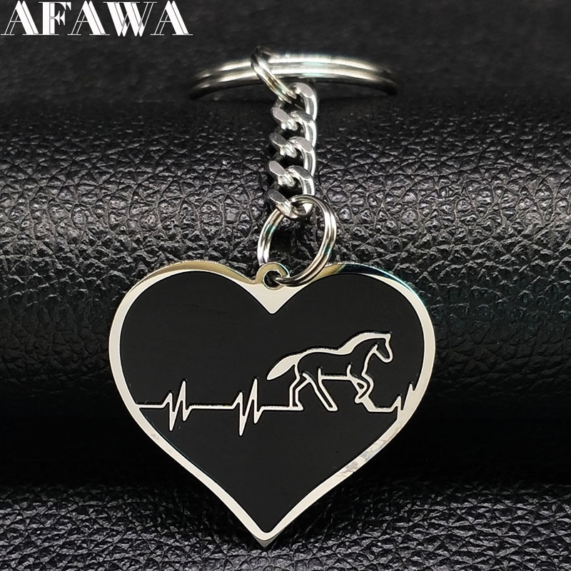 2019 Fashion Heart Horse Stainless Steel Key Chain For Men Black Keychain Car Jewelry Llaveros Para Hombre K77412B