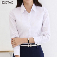 EXOTAO Blusas OL Fashion Solid Formal Women Tops Long Sleeves All Match Fitted Camisas Femininas Manga