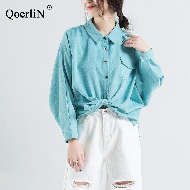 QoerliN grande taille magasin/couleur bonbon veste manteau femmes printemps velours côtelé Vintage bleu Top Outwear chemises femme Blusas vert M-2XL