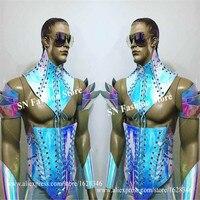 M02 Tech armor suit dj ballroom dance robot men costumes bar wears clothes mirror laser colorful bodysuit male singer outfits ds