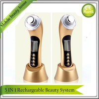 Newest Rechargeable Home Use Ultrasonic Skin Rejuvenation Ionic Photon 3MHz Galvanic Microcurrent Facial Massager LCD Display
