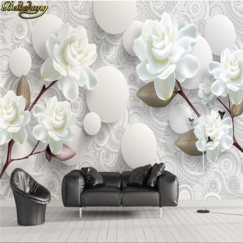 beibehang Custom 3D Stereoscopic Mural Wallpaper European Fashion Beautiful White Peony Bedroom TV Backdrop Wall Paper Modern