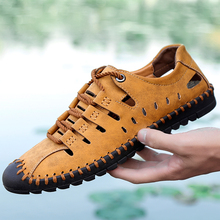 New Mens Casual Luxury Shoes Genuine Leather Spring Shoes New Beach Men Casual Shoes Outdoor Hole  for Man Plus Size 38-48