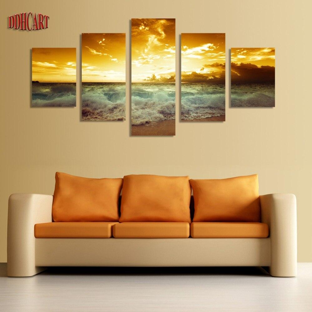 5 Piece Sunset Seascape Beach Modern Wall Art Hd Picture