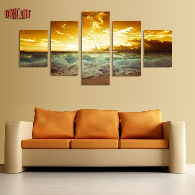 Aliexpress.com : Buy 5 Piece Sunset Seascape Beach Modern Wall Art ...