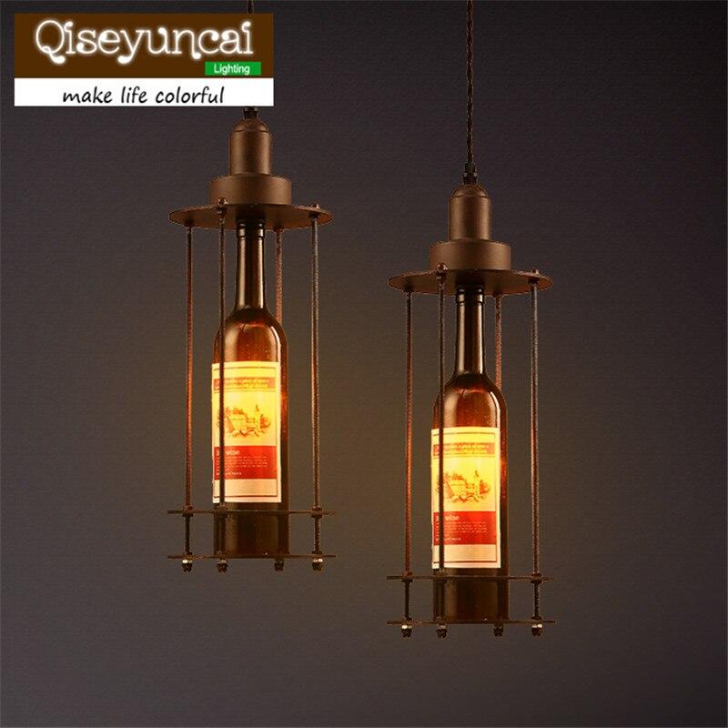Wine Bottle Style Pendant creative retro industrial style American style Cafe Restaurant single head wine bottle lamp
