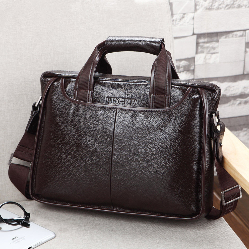 2019 New Fashion Genuine Leather Famous Brand Men Briefcase, Commercial Laptop Briefcase, Cross-body Shoulder Bag Cowhide