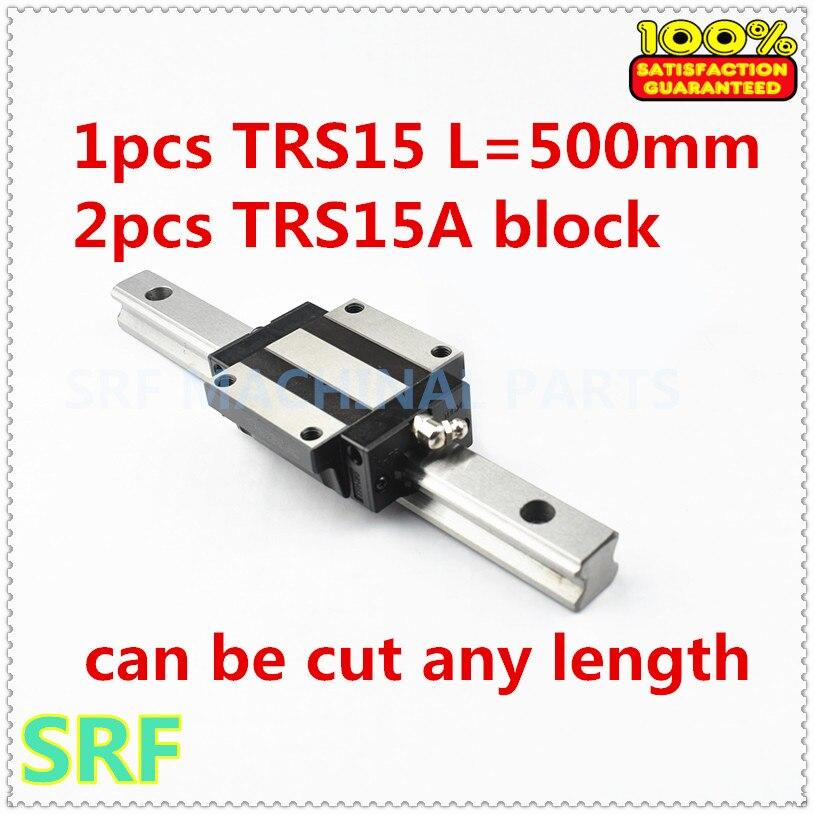 Low assembly 1pcs 15mm width Linear Giude Rail TRS15 L=500mm+2pcs TRS15A Flange slide block for CNC part