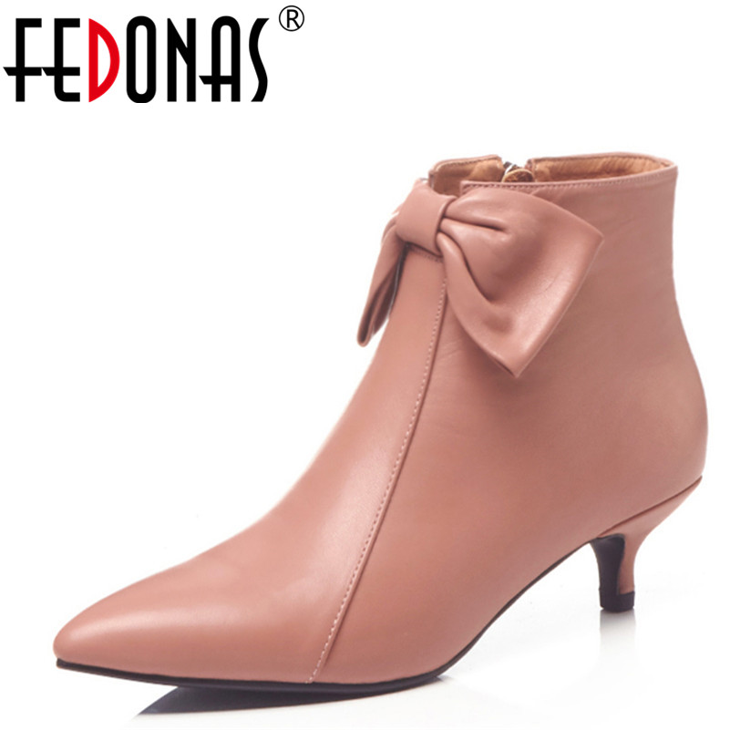 FEDONAS 1New Women Ankle Boots Pointed Toe Genuine Leather High Heels Shoes Sweet Butterfly Knot Autumn Winter Warm Shoes Woman цены