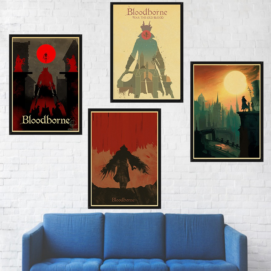 Bloodborne Game Poster Kraft Paper Print Retro Style Home Decor Wall Art Painting Wall Sticker