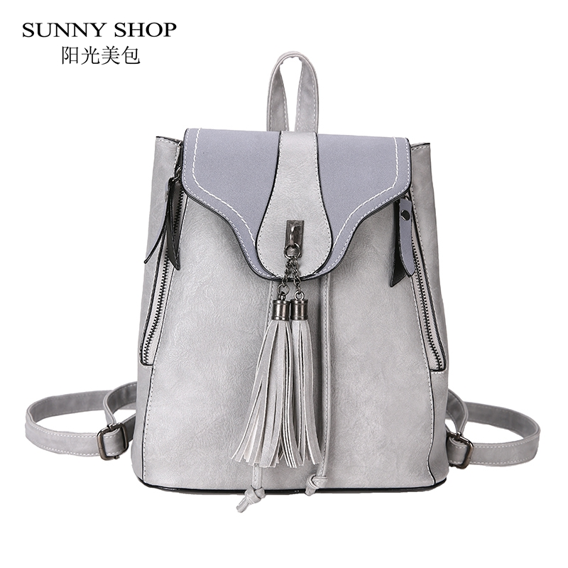 Vintage Korean Fashion PU Leather Backpack Female School Bag Notebook Backpack Small Tassel Drawstring Travel Work bookbag Grey 710 39 99usd 9 colours 2017 wholesale korean fashion pu zipper primary secondary school students backpack five pieces 2017121401