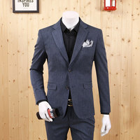 Men Formal Suits Blazers Fashion 2018 Grey Blue Retro Slim Single Breasted Full Sleeve Young Man Christmas Father Day Gift New
