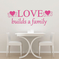 Wall Decal Quotes Love Builds A Family Decal Heart Vinyl Bedroom Decor Art