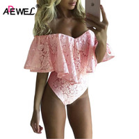 SEBOWEL New Elegatn Ruffles Lace Bodysuit Sexy Off Shoulder Mini Body Bodycon Playsuit Fashion Romper Overalls